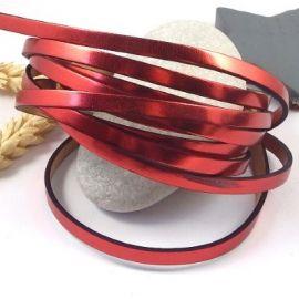 Cuir plat 5mm rouge metallise miroir haute qualite