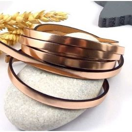 Cuir plat 5mm or rose miroir haute qualite