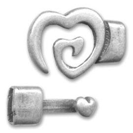 Fermoir coeur spirale plaque argent pour cuir plat 10mm