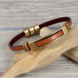 Kit bracelet cuir camel bronze