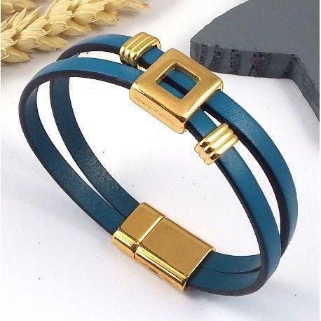 kit bracelet cuir turquoise et flashe or avec tutoriel