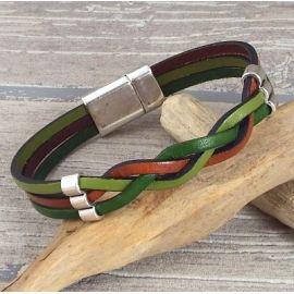Kit bracelet cuir tresse couleurs automne et argent