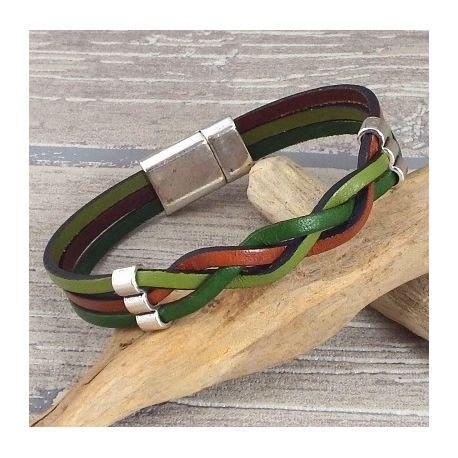Kit tutoriel bracelet cuir tresse couleurs automne et argent