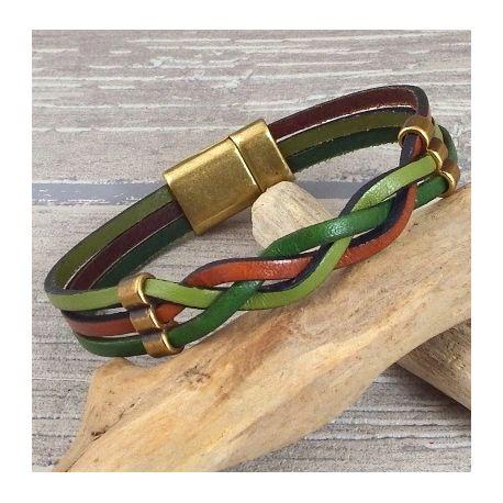 Kit bracelet cuir automne et bronze avec tutoriel offert