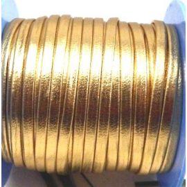 Cuir plat 3mm double doré brillant