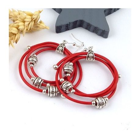 Kit boucles d oreille en cuir rouge avec perles argent tutoriel offert