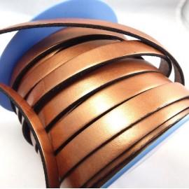 Cuir plat 10mm cuivre metallise