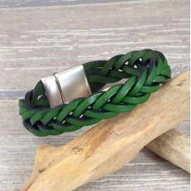 Kit bracelet cuir vert jardin tresse fermoir argent