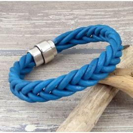 Kit bracelet cuir turquoise tresse 5 brins fermoir argent