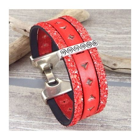 Kit bracelet cuir rouge style ethnique