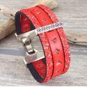 Kit bracelet cuir rouge corail style ethnique