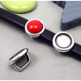passe cuir rond plaque argent support cabochon 12mm pour cuir regaliz