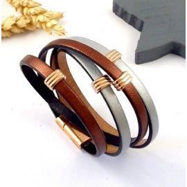 kit bracelet cuir tous metals perles et fermoir or rose