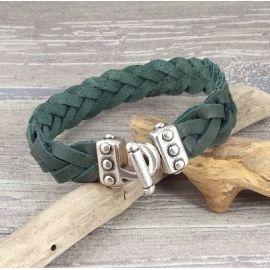 Kit bracelet cuir homme kaki tresse fermoir mecano argent