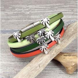 Kit bracelet cuir vert et corail palmiers argent