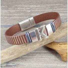 Kit tutoriel bracelet cuir unisexe noir avec initiale