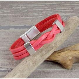 Kit tutoriel bracelet cuir tresse blanc avec perles et fermoir magnetique bronze