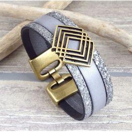 Kit bracelet cuir gris style antique passant geometrique bronze