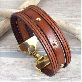 Kit bracelet cuir camel clous et coutures fermeture or
