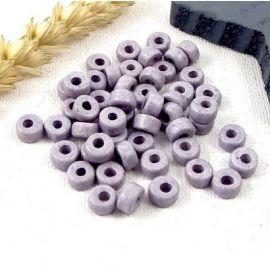 50 perles rondes ceramique artisanale gris clair mat pour cuir 2mm