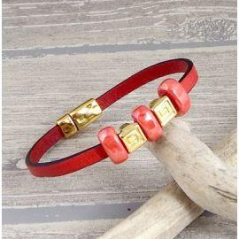Kit bracelet cuir rouge et or ethnique avec tutoriel