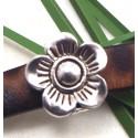 passe cuir fleur metal argente 16mm pour cuir 10mm