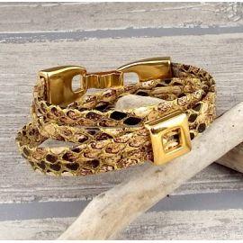 Kit tutoriel bracelet cuir simili double reptile avec passant or