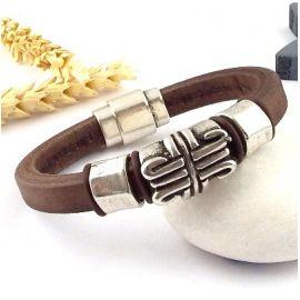 kit bracelet cuir regaliz marron perle ethnique et fermoir plaque argent