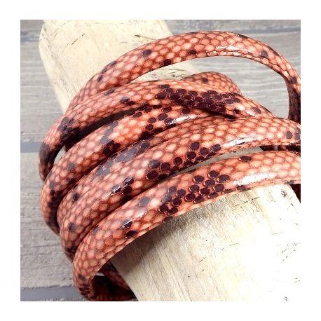 cuir regaliz serpent orange et marron