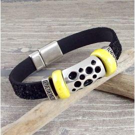 kit bracelet cuir fantasia noir jaune et argent