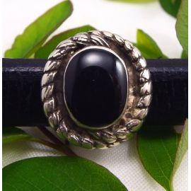 Perle passante cabochon noir pour cuir regaliz