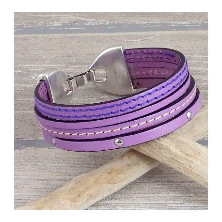 Kit bracelet cuir manchette tout en mauve