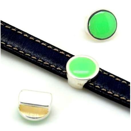 passe cuir rond cercles plaque argent pour cuir 10mm