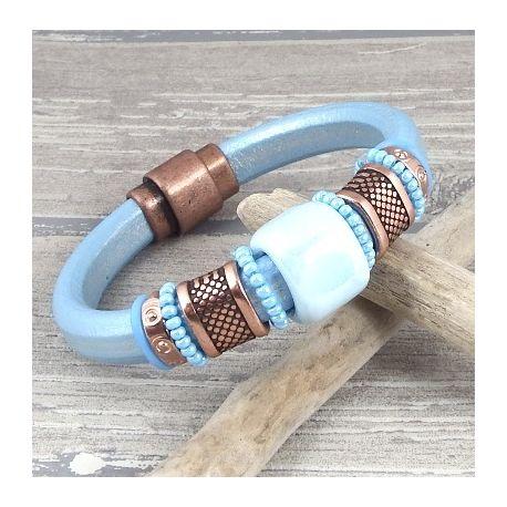 kit bracelet cuir regaliz bleu metal rocailles cuivre zamak