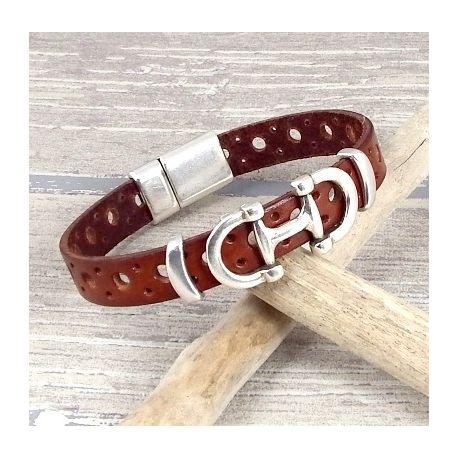 Kit tutoriel bracelet cuir camel perfore avec etrier argent