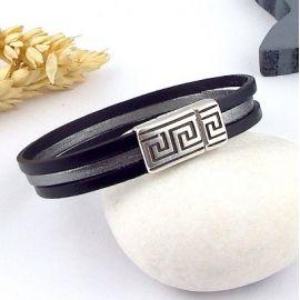 Kit bracelet cuir homme noir argent vieilli geometrique boho