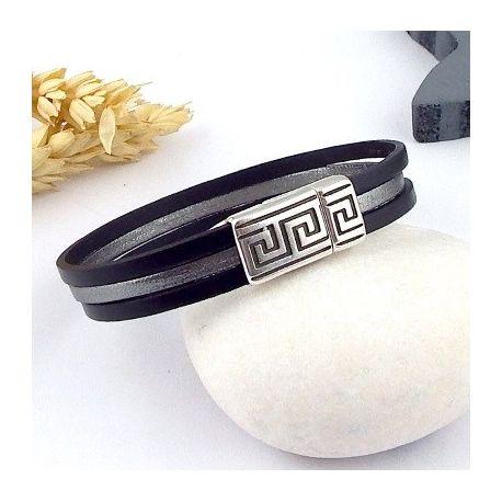 Kit tutoriel bracelet cuir homme noir argent vieilli geometrique boho