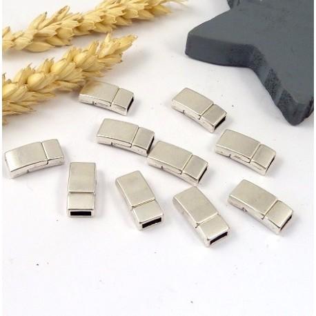 Fermoir magnetique plat plaque argent pour cuir 5mm