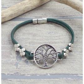 Bracelet en cuir kaki arbre de vie zamak argent