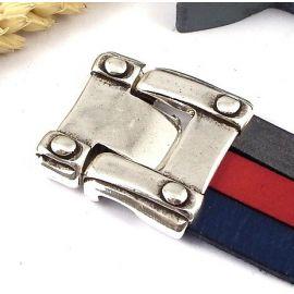 Fermoir clip argent style medieval pour cuir 30mm