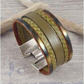 Bracelet en cuir kaki manchette artisanale creations BGA