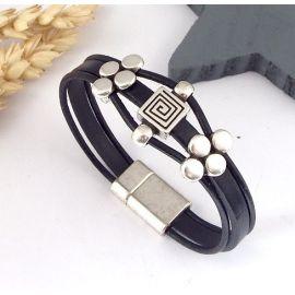 Kit bracelet cuir noir geometrique perles et fermoir argent
