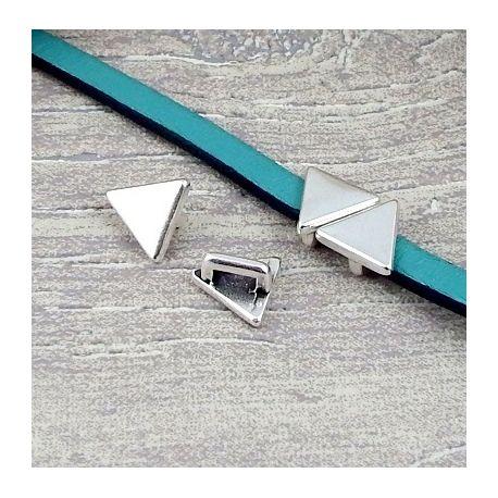 2 passe cuir triangle lisse plaque argent pour cuir 5mm