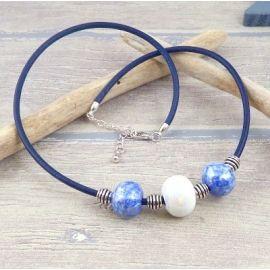 Kit collier cuir bleu ceramique artisanale et argent