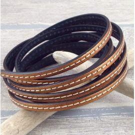 Cuir plat 5mm couture cuivre dore en gros