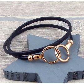 Kit bracelet en cuir fin double avec fermoir menottes or rose