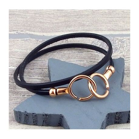Bracelet en cuir fin double avec fermoir menottes or rose