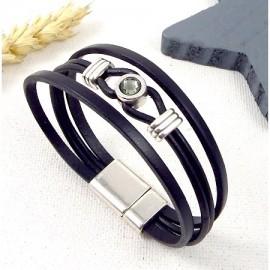 Tutoriel bracelet cuir noir cristal swarovski et perles argent