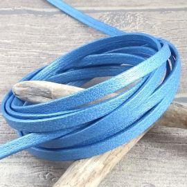 Cuir plat 5mm double bleu azur irise