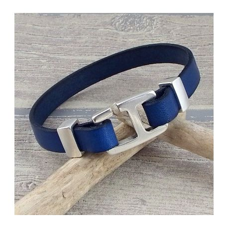 Kit bracelet cuir homme bleu fermoir crochet rectangle